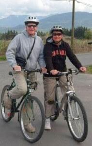 David and Lorna enjoy riding their mountain bikes