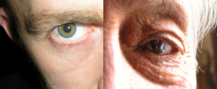 Closeup of young and old men's eyeballs
