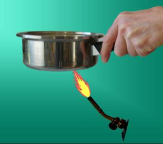 Heat pot of water from bottom