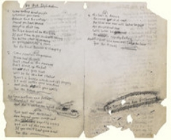 Bob Dylan's original hand-writen manuscript of The Times They Are A'Changing