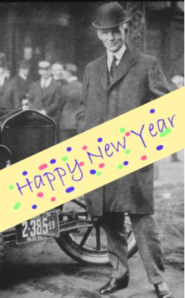Henry Ford and Happy New Year banner