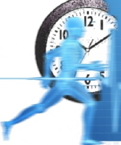 running man in front of large clock face